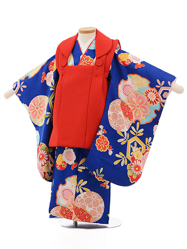 七五三レンタル(3歳女の子被布)3714赤xブルー雪輪