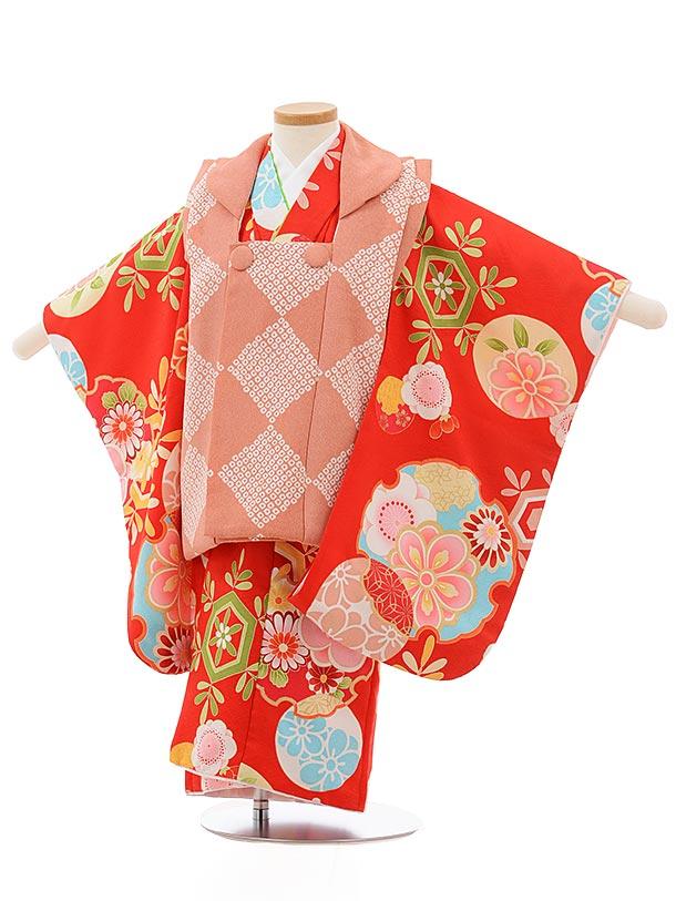 七五三レンタル(3歳女の子被布)3716ピンクx赤雪輪