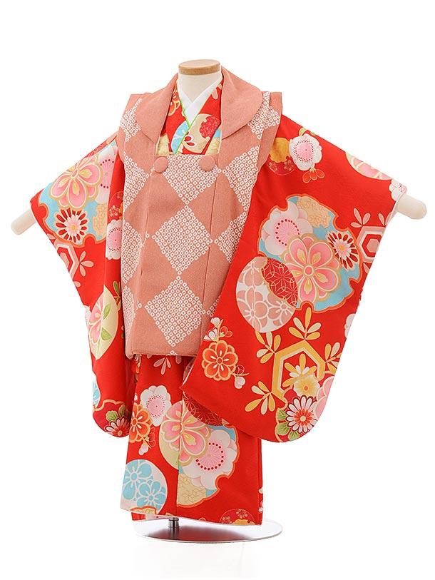 七五三レンタル(3歳女の子被布)3718ピンクx赤雪輪