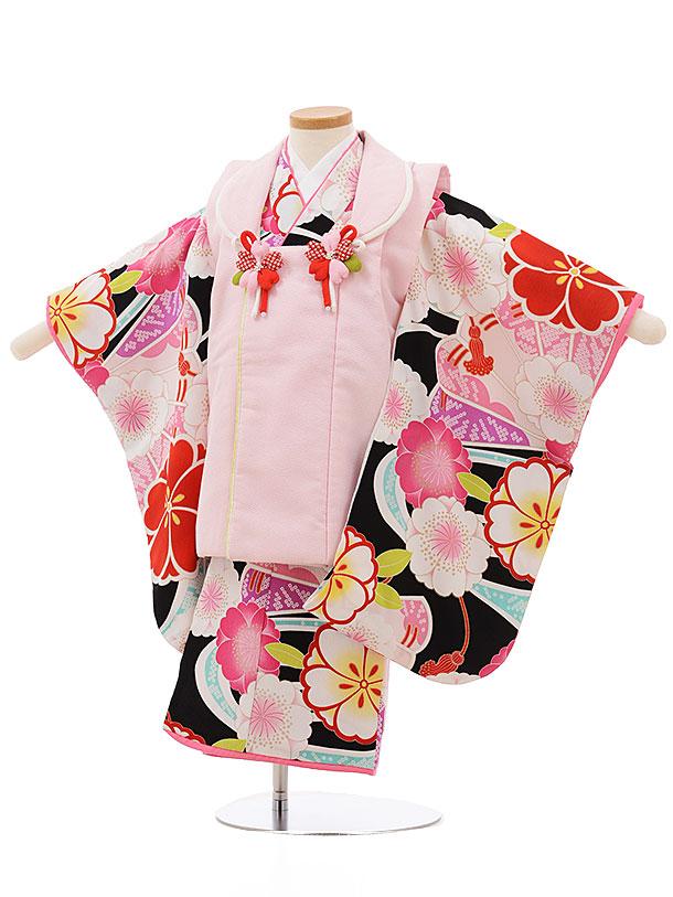 七五三レンタル(3歳女の子被布)3719うすピンクx黒地桜