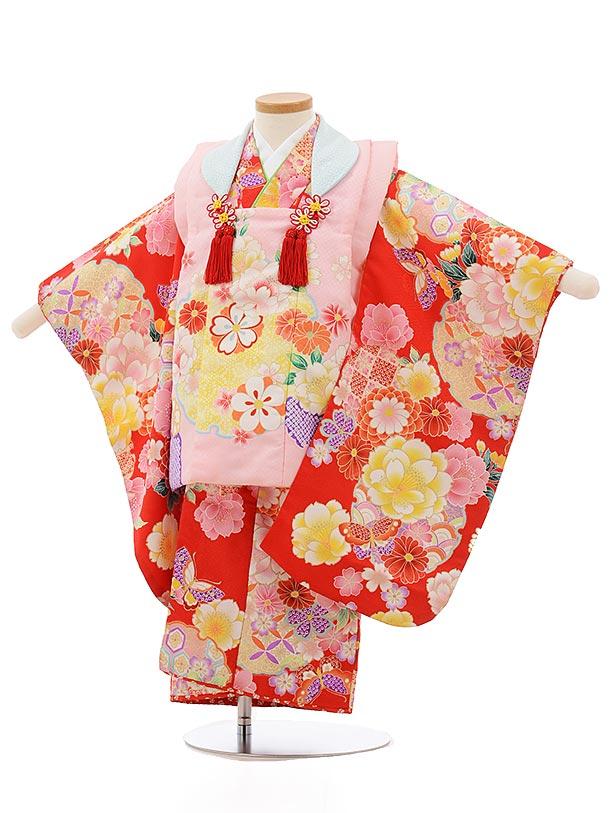 七五三レンタル(3歳女の子被布)3721ピンクx赤地花