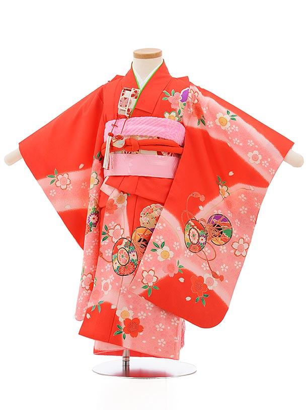 七五三レンタル(3歳女の子結び帯)3732 赤地 桜に鼓