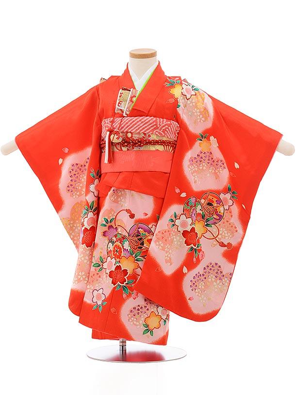 七五三レンタル(3歳女の子結び帯)3733 赤地 桜に鼓