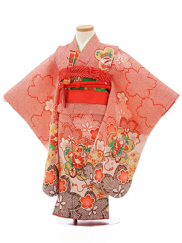 七五三レンタル(3歳女の子結び帯)3734 赤地 疋田柄 桜に花車