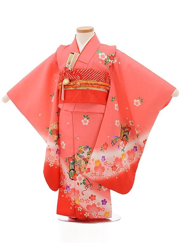 七五三レンタル(3歳女の子結び帯)3737 ピンク地 裾赤 桜に御所車