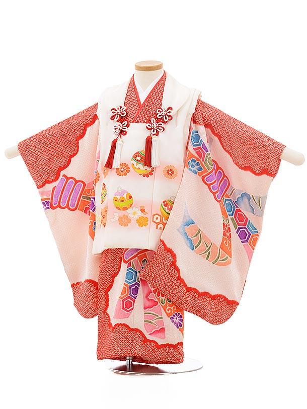 七五三レンタル(3歳女の子被布) 正絹 3738 白まり×赤地 絞り 束ねのし