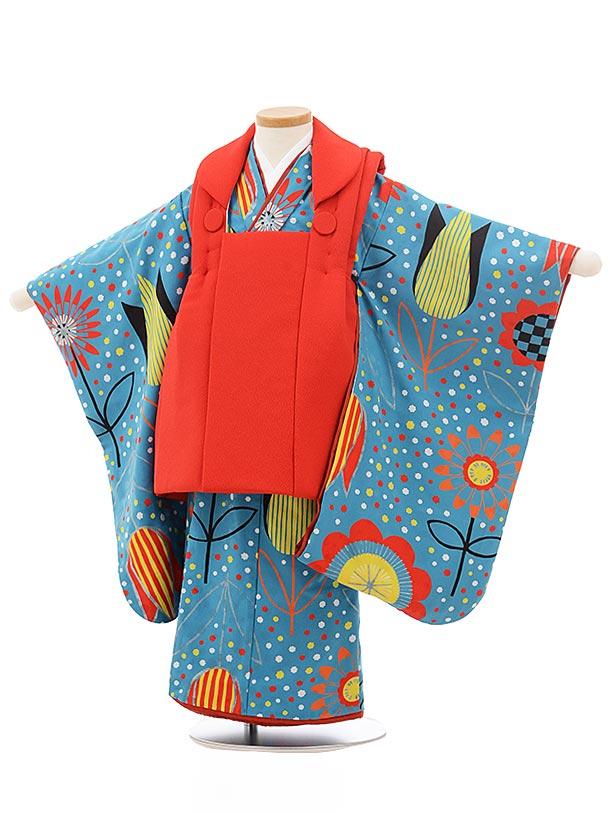 七五三レンタル(3歳女の子被布)3740 赤×ブルー地 チューリップ