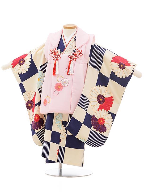 七五三レンタル(3歳女の子被布)3742 うすピンク×クリーム紺 菊