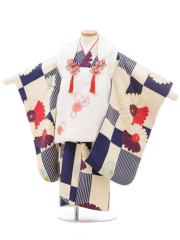 七五三レンタル(3歳女の子被布)3743 白×クリーム紺 菊