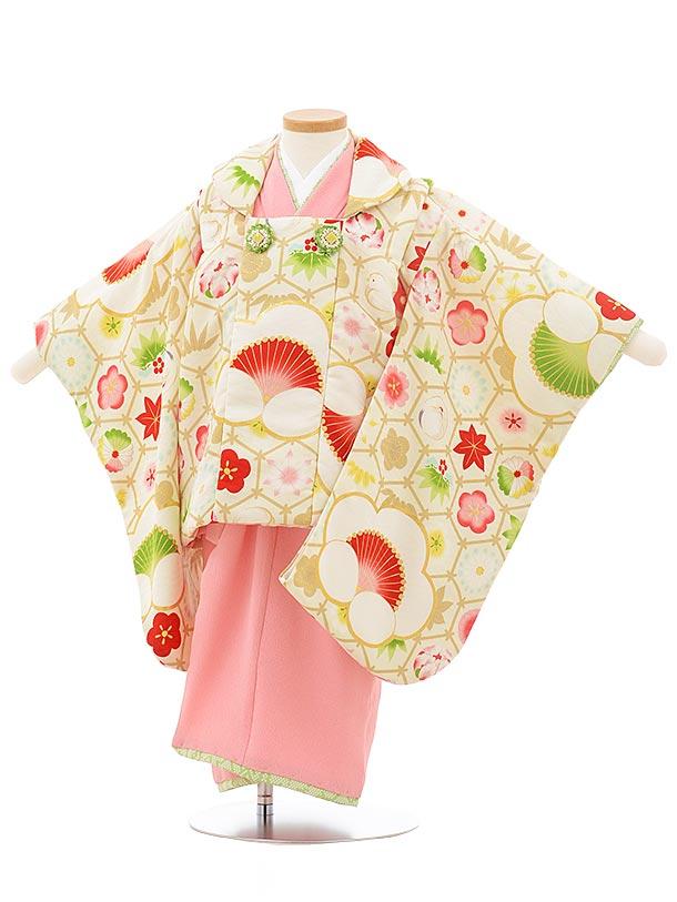七五三レンタル(3歳女の子被布)3751 九重 袖付き被布 クリーム×ピンク