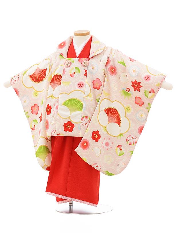 七五三レンタル(3歳女の子被布)3752 九重 袖付き被布 ピンク×赤