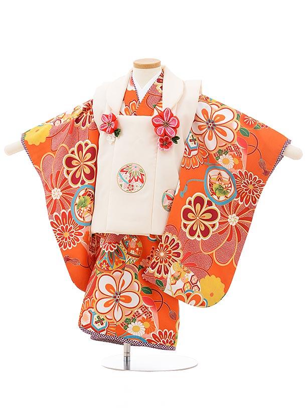 七五三レンタル(3歳女の子被布)3753 ぷちぷりオフホワイト×オレンジ 古典