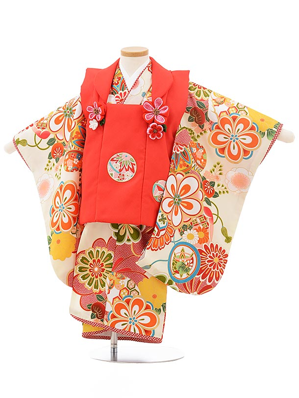七五三レンタル(3歳女の子被布)3754 ぷちぷり 赤×オフホワイト