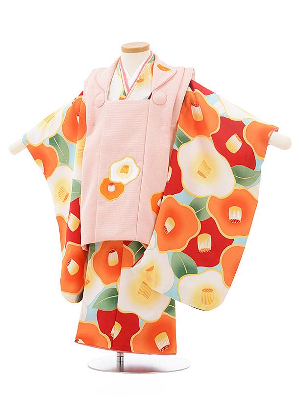 七五三(3歳女被布)3755 花わらべ ピンク×水色地椿