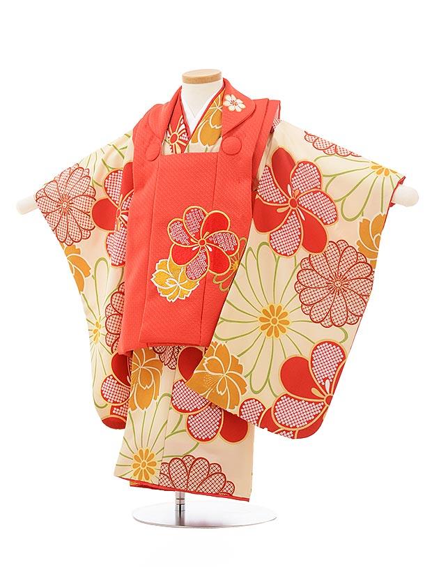 七五三(3歳女被布)3756 花わらべ 赤×ベージュ梅菊