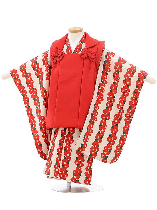 七五三レンタル(3歳女児被布)3761赤×白地赤椿