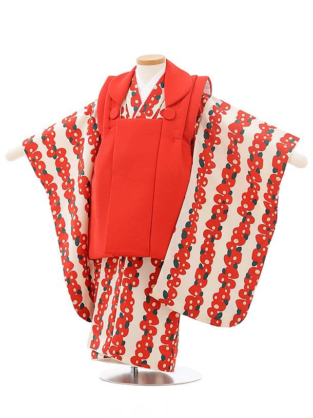 七五三レンタル(3歳女児被布)3762赤×白地赤椿