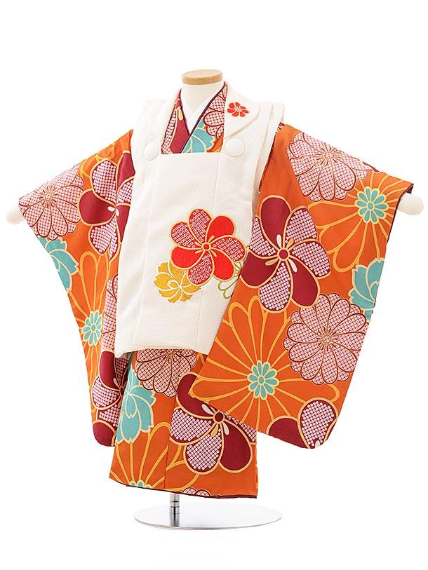 七五三レンタル(3歳女児被布)3765花わらべクリーム色×金茶梅菊
