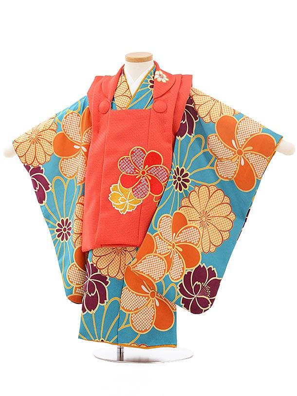 七五三レンタル(3歳女児被布)3767花わらべ赤×ターコイズ梅菊