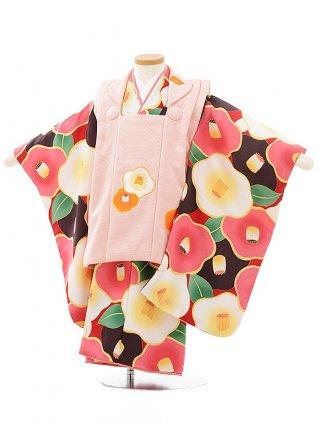 七五三レンタル(3歳女児被布)3768花わらべピンク×赤地茶ピンク椿