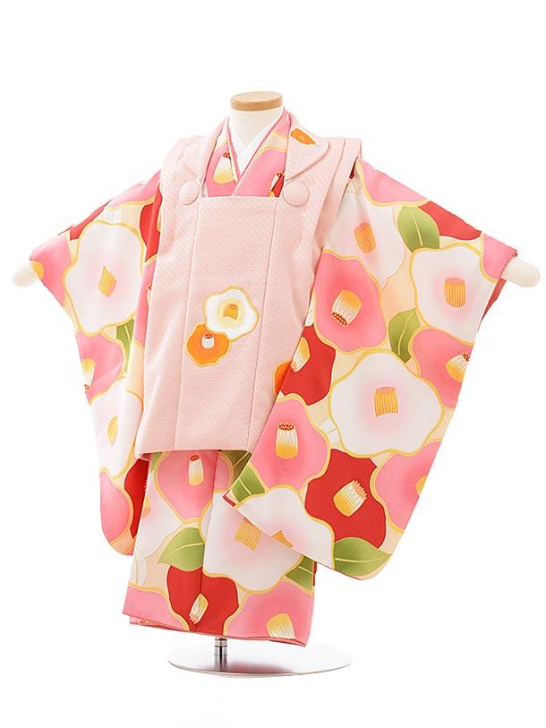 七五三レンタル(3歳女児被布)3769花わらべピンク×クリーム地白ピンク椿