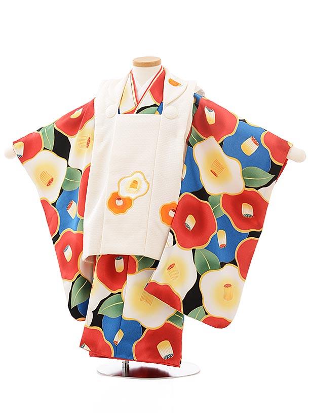 七五三レンタル(3歳女児被布)3770花わらべクリーム色×黒地ブルー椿