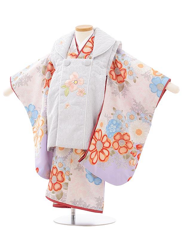 七五三レンタル(3歳女児被布)3771SugarKeiラベンダー色 花