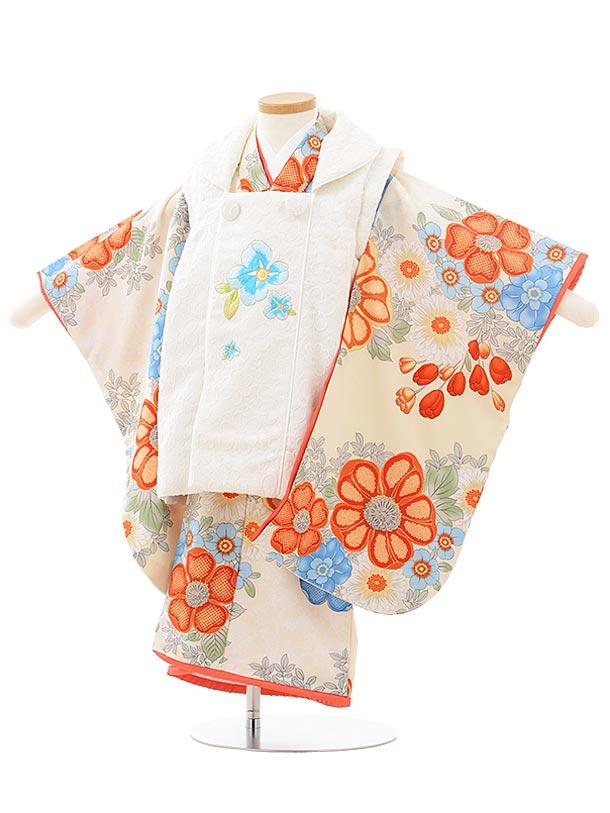 七五三レンタル(3歳女児被布)3772SugarKeiクリーム色 花