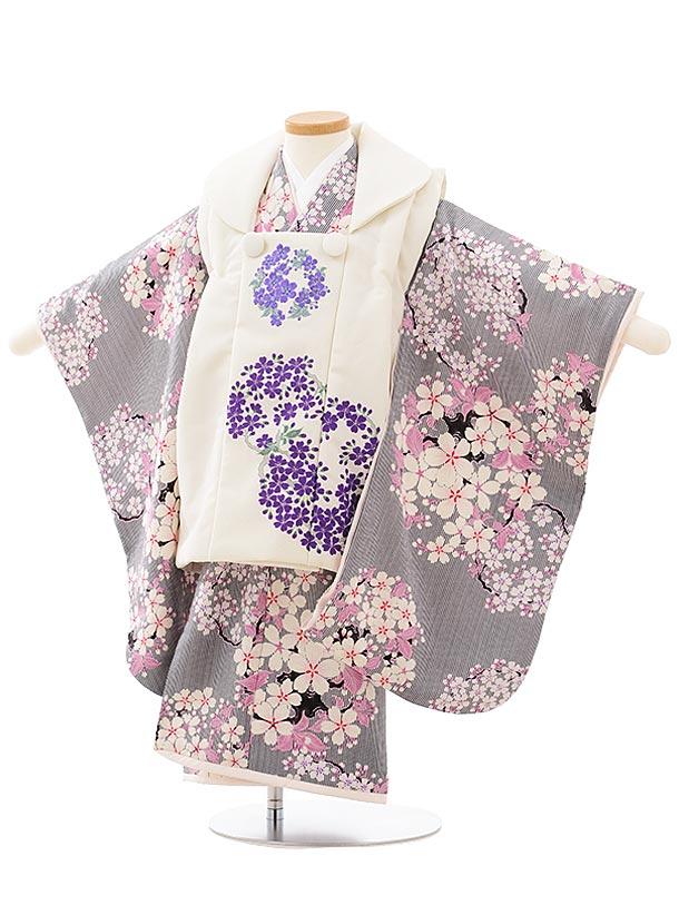 七五三(3歳女児被布)3777NATURALBEAUTY桜刺繍白×黒ストライプ