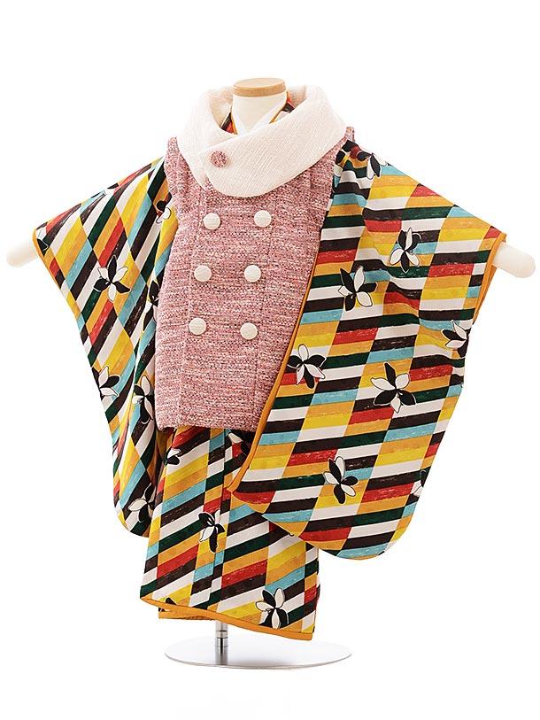 七五三レンタル(3歳女児被布)3780モダンアンテナツイード赤×カラフル