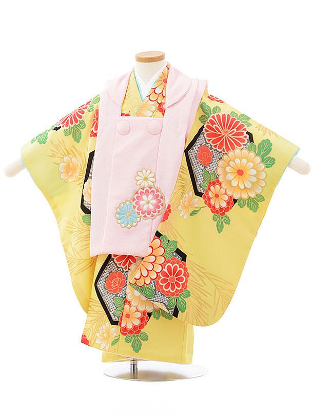 七五三レンタル(3歳女児被布)3782薄ピンク×黄色地菊
