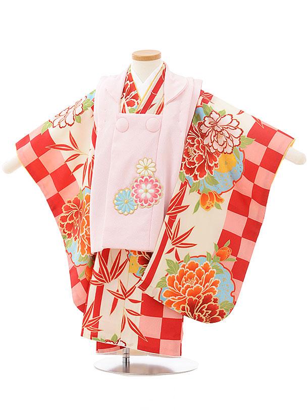 七五三レンタル(3歳女児被布)3783薄ピンク×赤ピンク市松牡丹