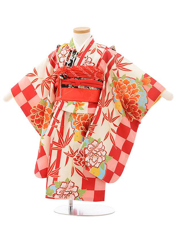 七五三レンタル(3歳女の子結び帯)3787赤ピンク市松牡丹
