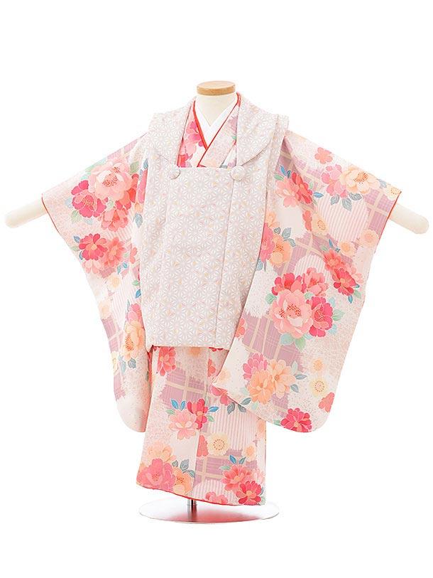 七五三レンタル(3歳女児被布)3790 KAGURAマロン×桜に翁格子