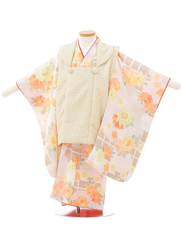 七五三レンタル(3歳女児被布)3791 KAGURAベージュ×桜に翁格子