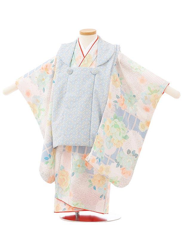 七五三レンタル(3歳女児被布)3795 KAGURAミント×桜に翁格子