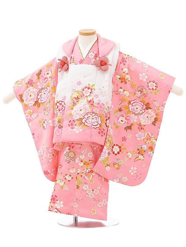 七五三レンタル(3歳女児被布)3797白ピンクぼかし×ピンク花まり