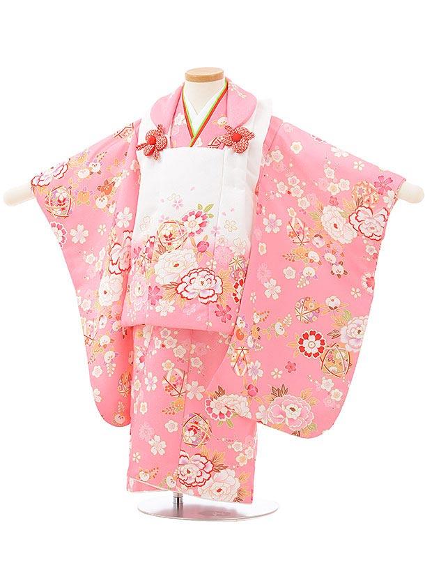 七五三レンタル(3歳女児被布)3798白ピンクぼかし×ピンク花まり