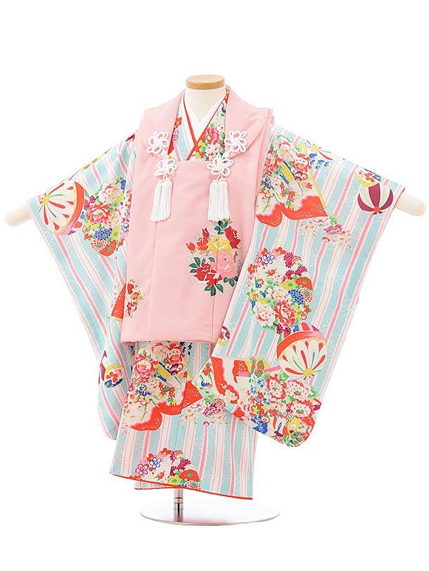 七五三レンタル(3歳女児被布)3799式部クラシック ピンク×水色レトロ花