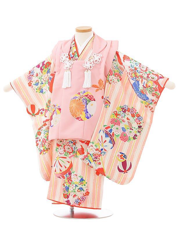 七五三レンタル(3歳女児被布)3800式部クラシック ピンク×ピンクレトロ花