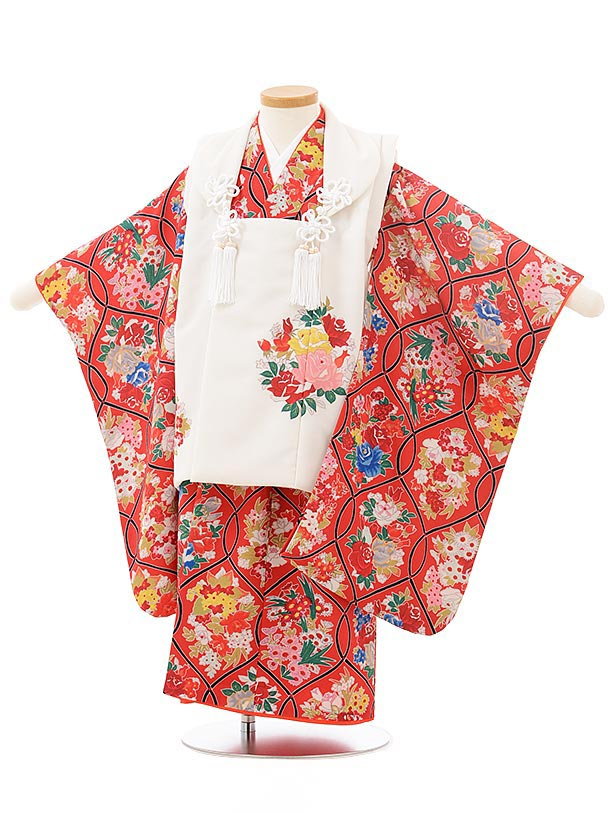 七五三レンタル(3歳女児被布)3802式部クラシック 白×赤レトロ花