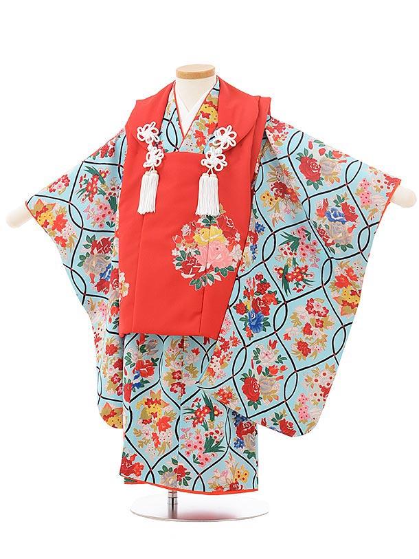 七五三レンタル(3歳女児被布)3803式部クラシック 赤×水色レトロ花