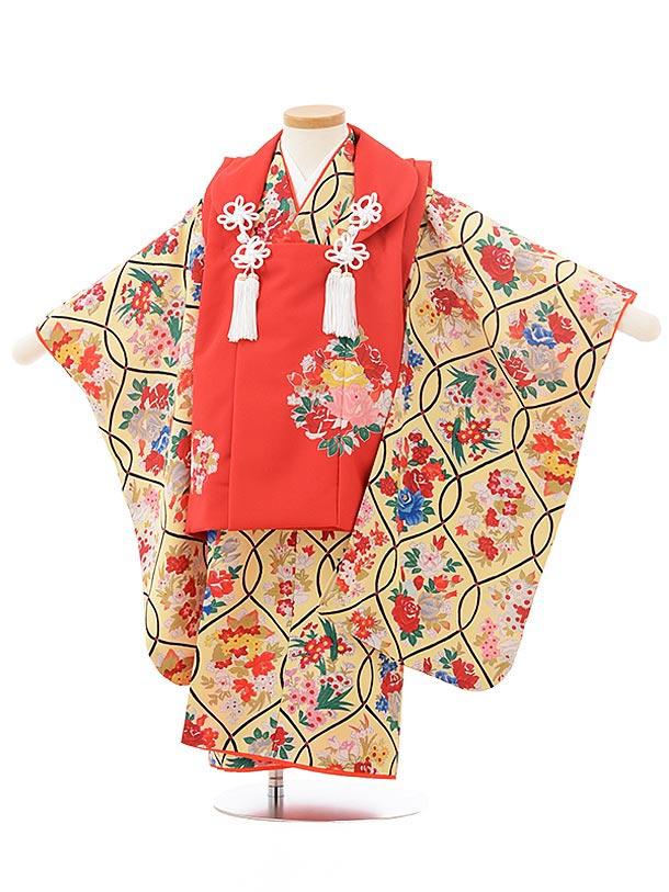 七五三レンタル(3歳女児被布)3804式部クラシック 赤×黄色レトロ花