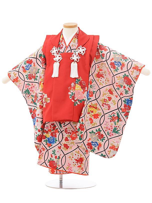 七五三レンタル(3歳女児被布)3805式部クラシック 赤×ピンクレトロ花