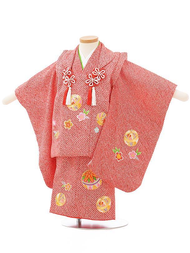 七五三レンタル(2歳女児被布)3806正絹赤総絞り桜まり刺繍