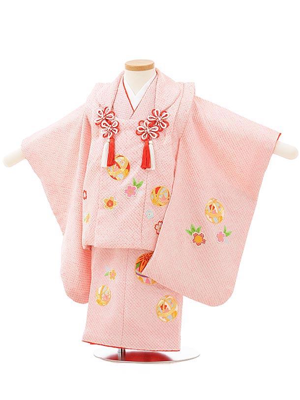 七五三レンタル(2歳女児被布)3807正絹ピンク総絞り桜まり刺繍