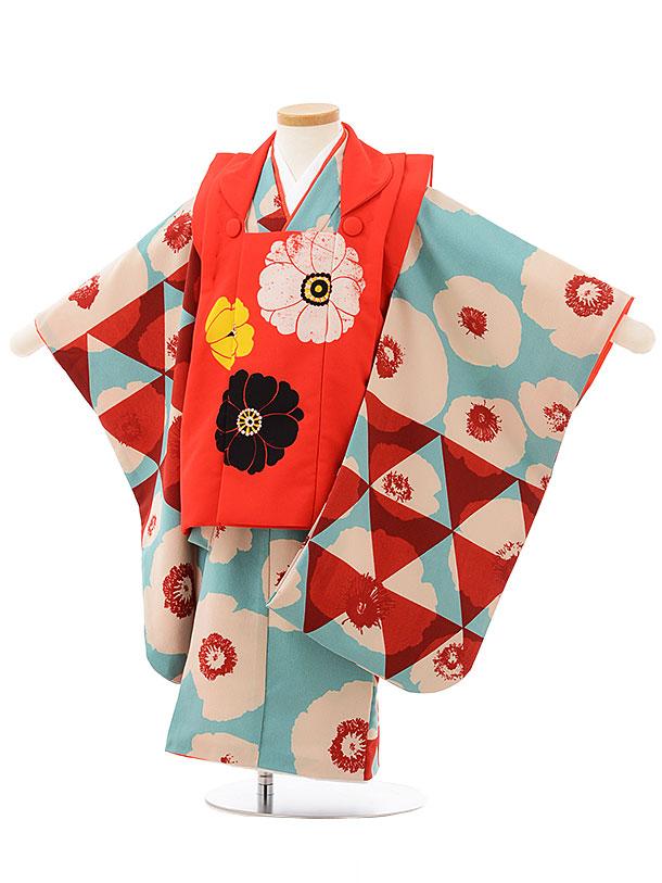 七五三(3歳女被布)3808 モダン 赤×水色ナチュラル花