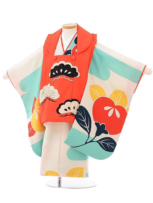 七五三(3歳女被布)3809 モダン 赤×オフホワイト橘