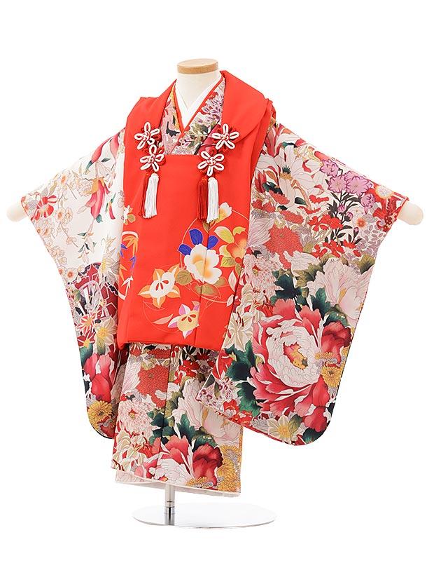 七五三(3歳女被布)3811 クラッシック 赤×白地大花