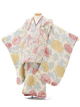 七五三レンタル(3歳女児被布)3813白地花×クリーム色乱菊